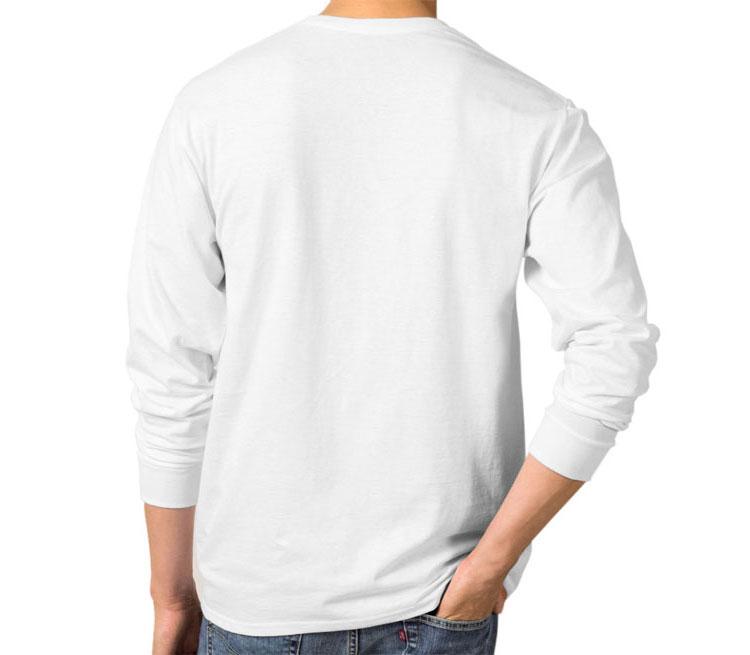 Br Ba мужская футболка с длинным рукавом (цвет: белый, 100% хлопок)