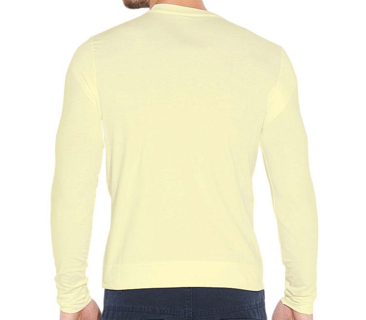 Барт Симпсон (Спрингфилд) мужская футболка с длинным рукавом стрейч (цвет: слоновая кость, 92% хлопок, 8% лайкра)