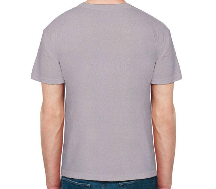 Зайка - а мне весело живется мужская футболка с коротким рукавом (цвет: серый меланж, 50% хлопок, 50% полиэстер)