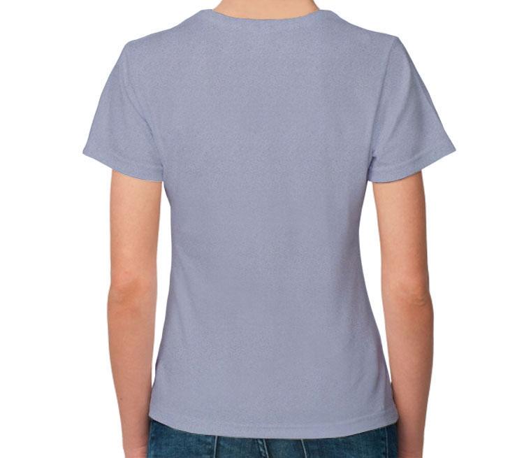 Свирепый лев женская футболка с коротким рукавом (цвет: голубой меланж, 50% хлопок, 50% полиэстер)